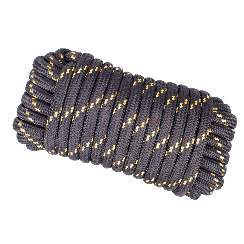 1/2 in. x 50 ft. Heavy Duty Diamond Braid Polypropylene Rope - Black