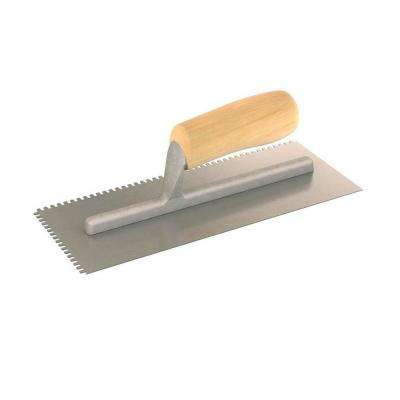 11 in. x 4-1/2 in. U-Notched Trowel with Notch Size 1/8 in. x 3/16 in. x 1/2 in. and Wood Handle