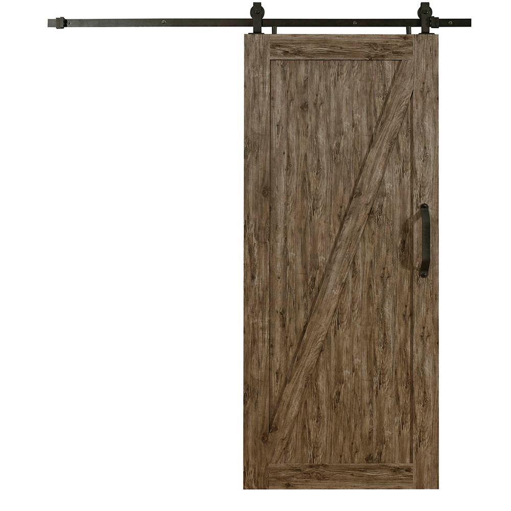 36 in. x 84 in. Millbrooke Weathered Grey Z Style RTA PVC Vinyl Barn Door with Sliding Door Hardware Kit