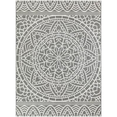 Aztec Gray 8 ft. x 10 ft. Indoor/Outdoor Area Rug