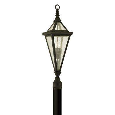Geneva 2-Light Vintage Bronze 29 in. H Outdoor Post Light with Clear Seeded Glass