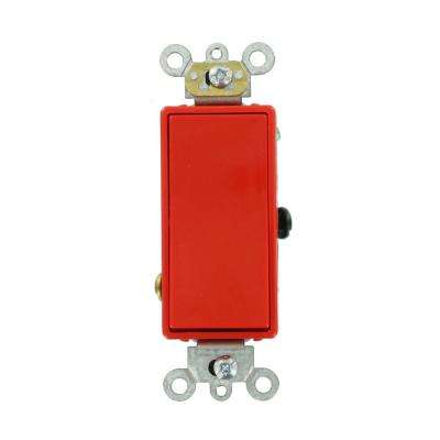 20 Amp Decora Plus Commercial Grade 3-Way Rocker Switch, Red