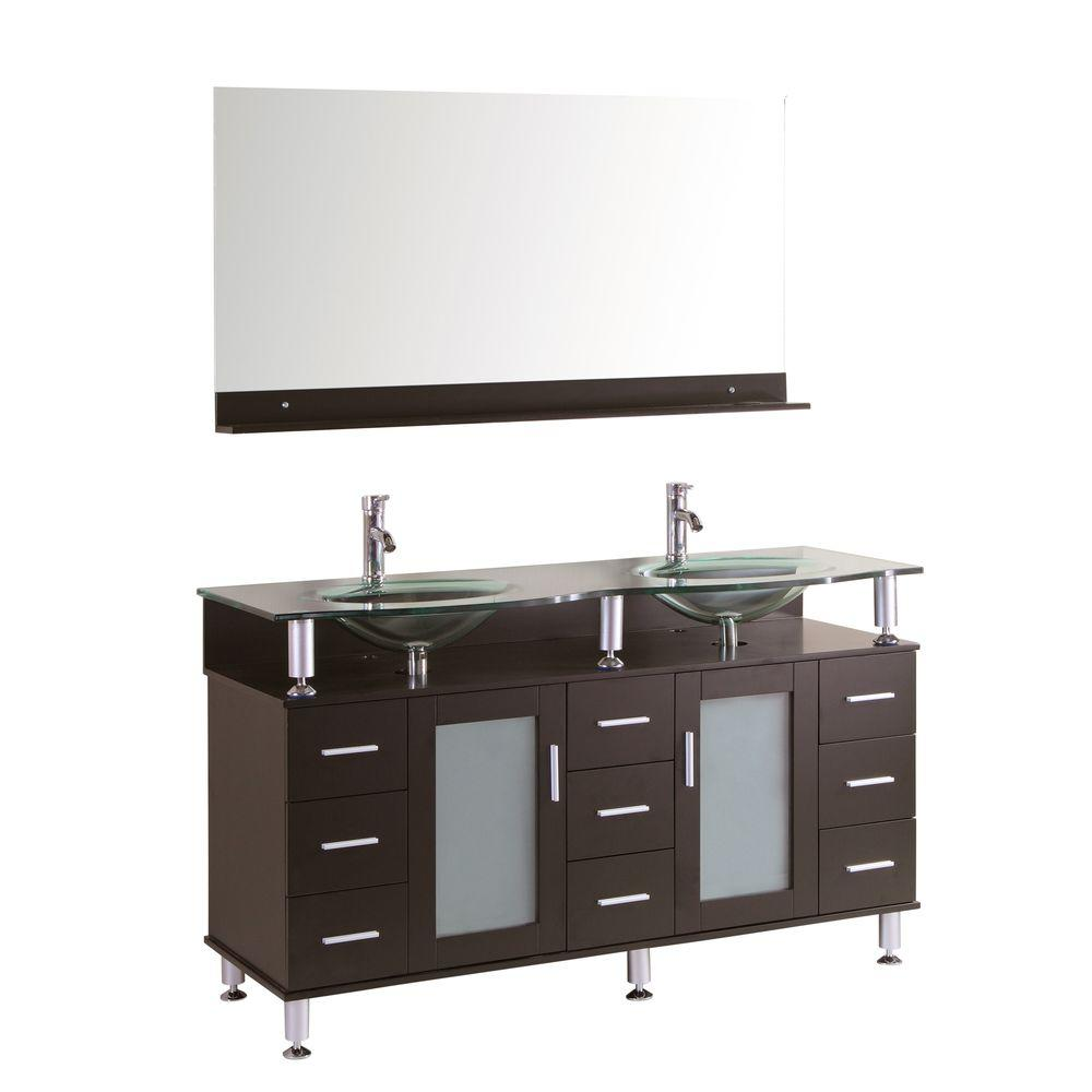 Double Vanity Espresso Glass Vanity Top Clear Mirror