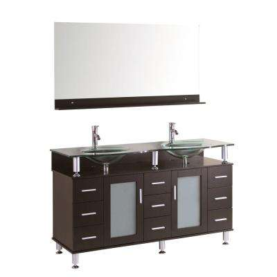 Cerviel 59 in. W x 21.6 in. D Double Vanity in Espresso with Glass Vanity Top in Clear and Mirror