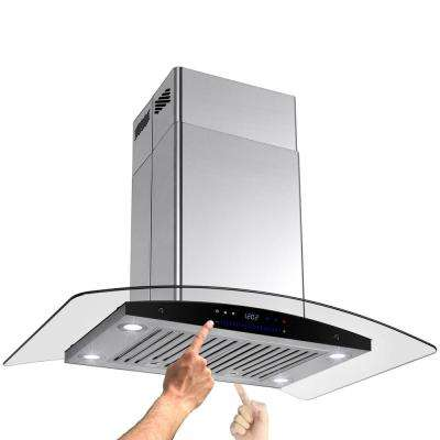 30 in. Convertible Kitchen Island Mount Range Hood in Stainless Steel with Tempered Glass and Dual Touch Controls