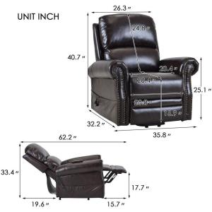 Phenomenal Brown Pu Leather Heavy Duty Power Lift Recliner Chair Ncnpc Chair Design For Home Ncnpcorg