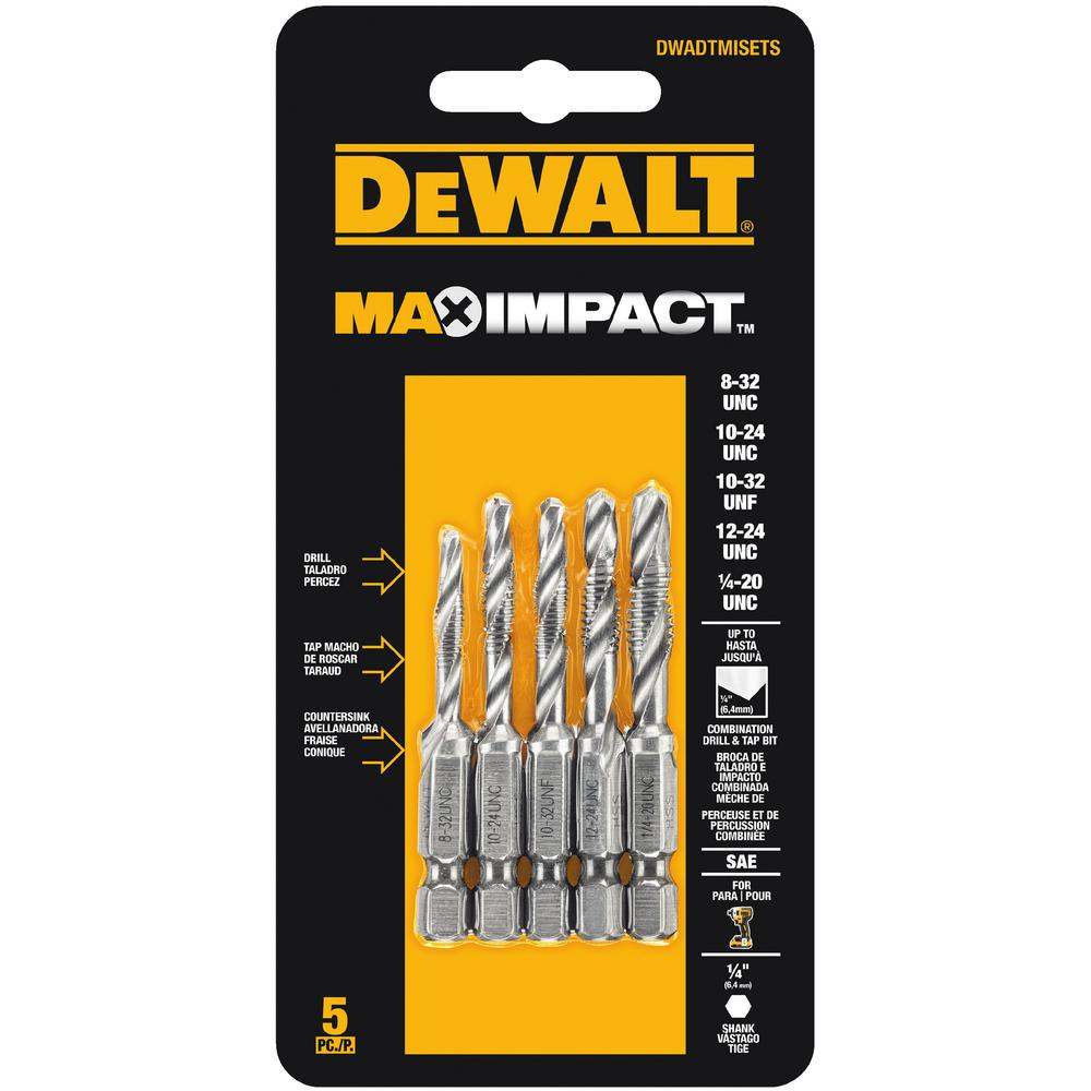 Drill Tap Set 5 Piece Impact Driver Metric Countersink Bit
