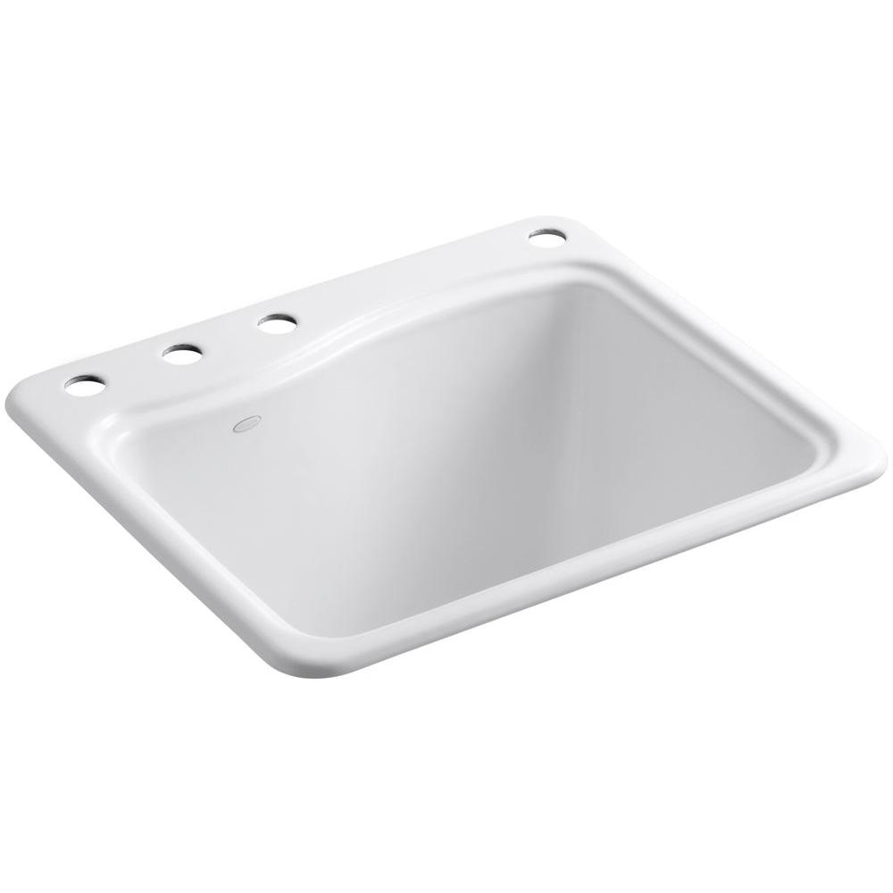 KOHLER River Falls Top Mount Cast-Iron 25 in. 4-Hole Single Bowl Utility Sink in White