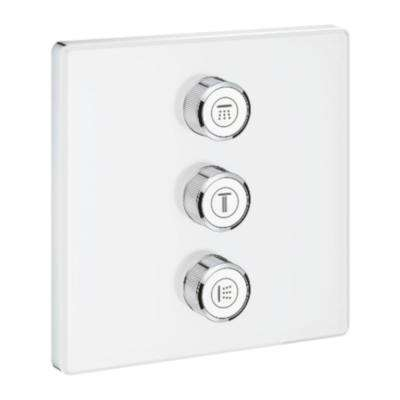 Grohtherm Smart Control Triple Volume Square Control Trim in Moon White