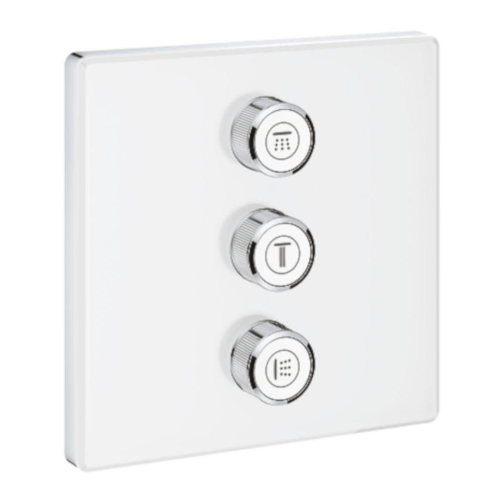 GROHE GROHE Grohtherm Smart Control Triple Volume Square Control Trim in Moon White