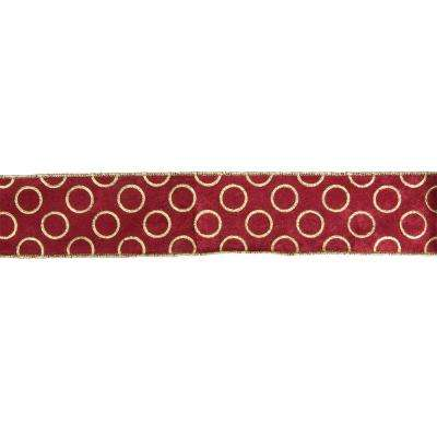 2.5 in. x 16 yds. Metallic Red and Gold Circle Wired Craft Ribbon