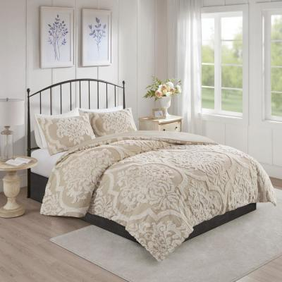 Aeriela 3-Piece Taupe King/Cal King Tufted Cotton Chenille Damask Comforter Set