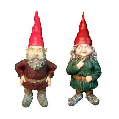 Gnomes of Toad Hollow - Merlinand Zeldathe Female Garden Gnome Couple Figurine Statue 20 in. H