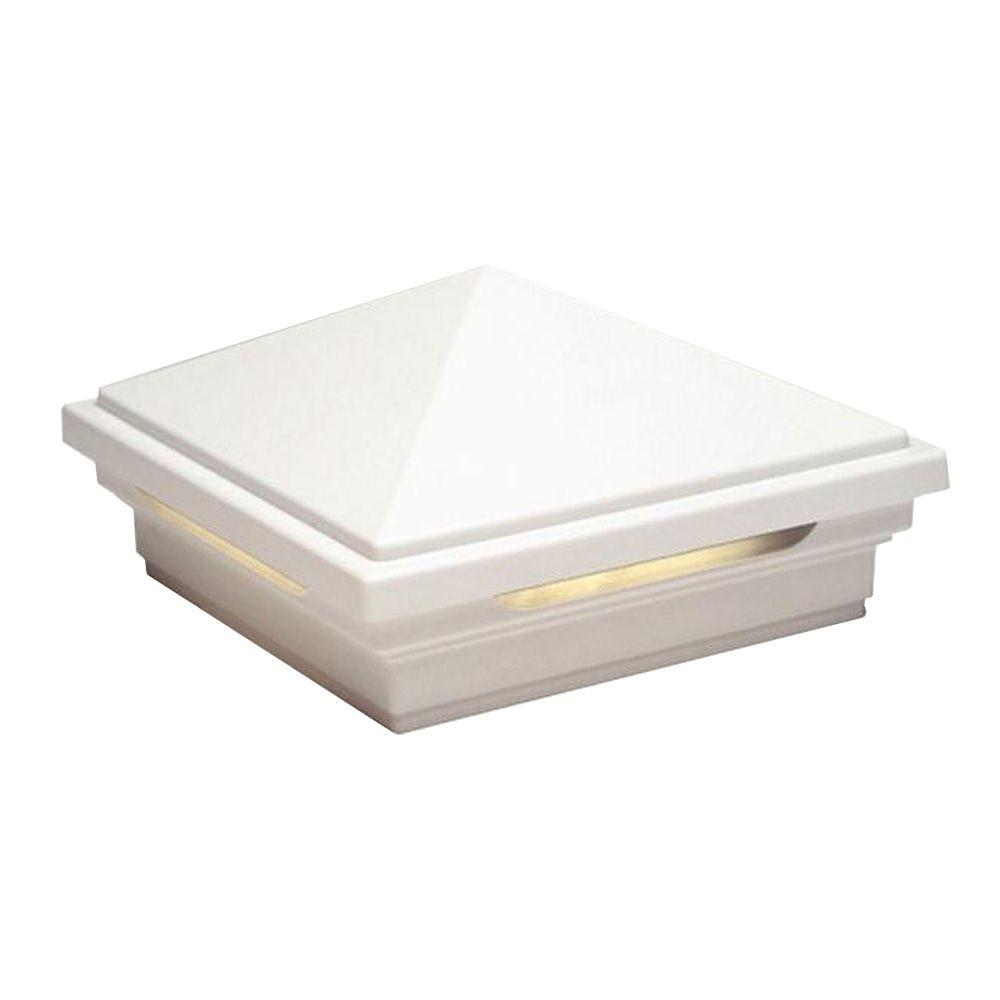 Trex DeckLighting 4 in. x 4 in. White LED Pyramid Post Sleeve Cap Light