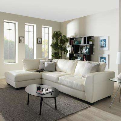 Orland 2-Piece Contemporary White Faux Leather Upholstered Left Facing Chase Sectional Sofa
