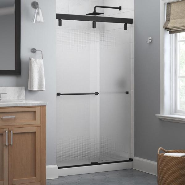 Everly 48 in. x 71-1/2 in. Mod Semi-Frameless Sliding Shower Door in Matte Black and 1/4 in. (6mm) Droplet Glass