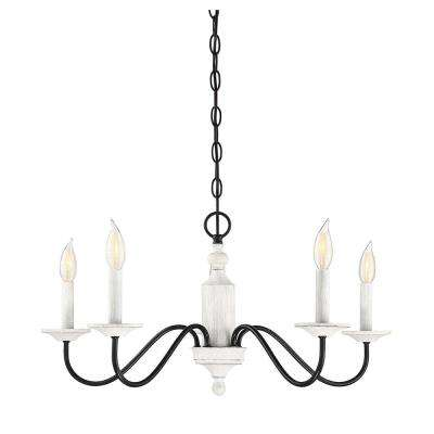 5-Light Washed Wood and Iron Chandelier