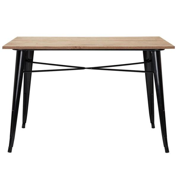 Stylewell Finwick Black Metal Square Rectangular Dining Table For 6 47 24 In L X 29 13 In H Tw805 Blk The Home Depot