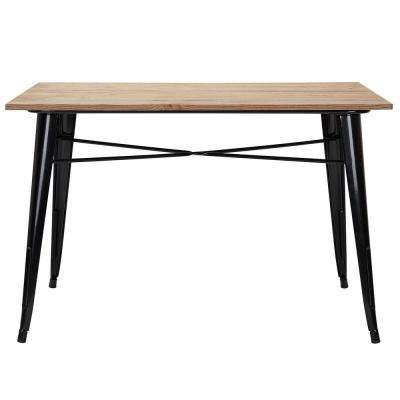 Finwick Black Metal Square Rectangular Dining Table for 6 (47.24 in. L x 29.13 in. H)