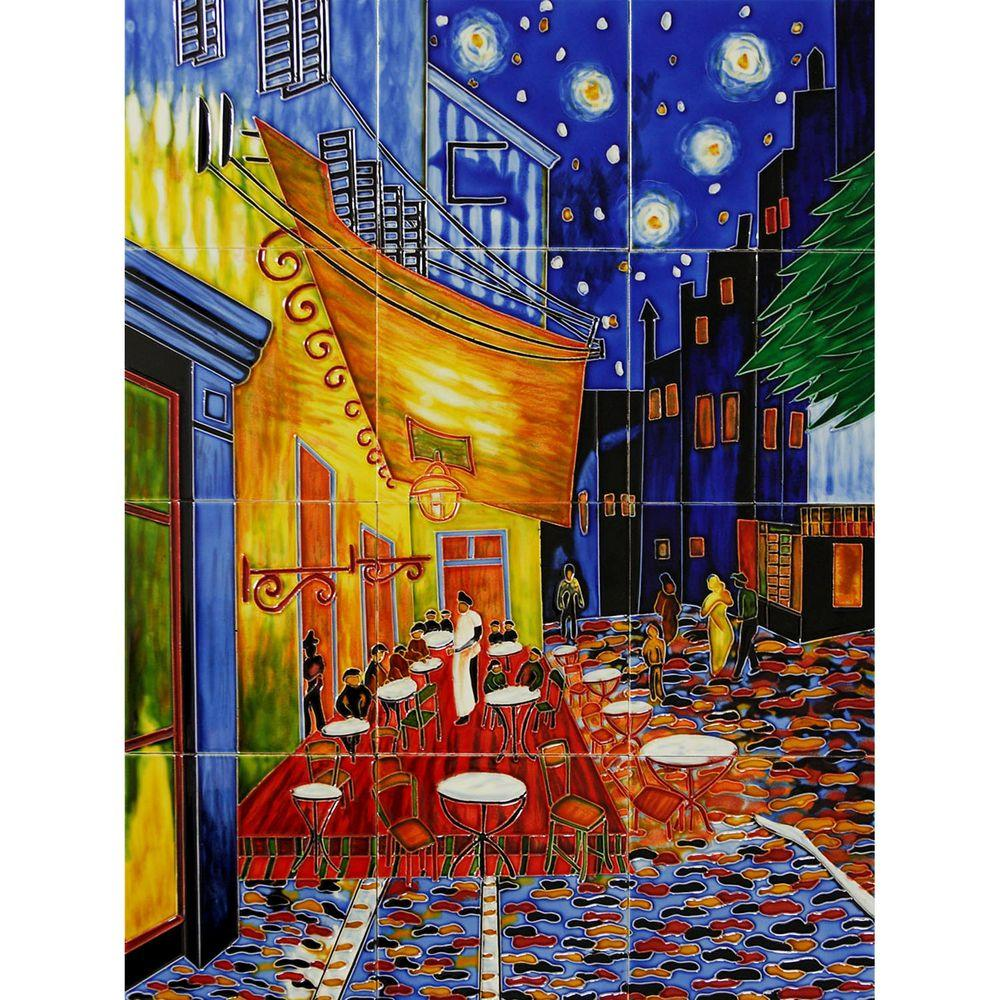 overstockArt Van Gogh, Cafe Terrace at Night Mural 18 in. x 24 in. Wall Tiles-DISCONTINUED