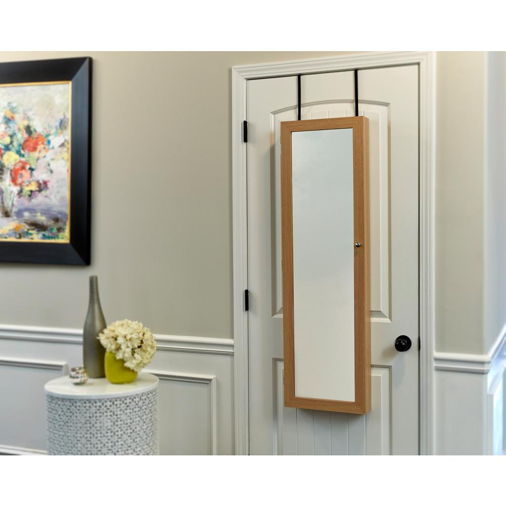 Firstime Oak Mirrored Jewelry Armoire