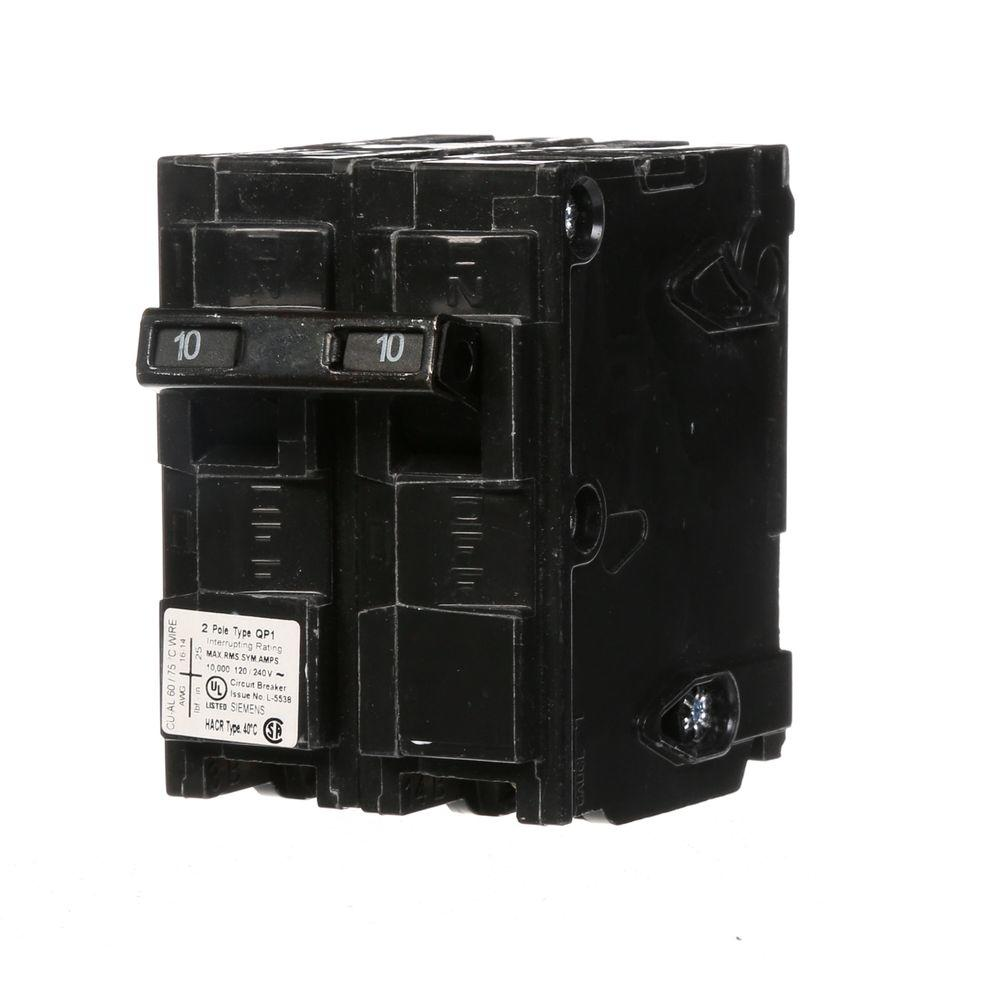 siemens 10 amp double pole type qp circuit breaker q210 the home depot. Black Bedroom Furniture Sets. Home Design Ideas