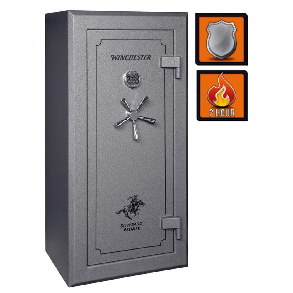 Winchester Safes Silverado Premier 23 24-Gun Granite Gloss Fire-Safe Electronic Lock