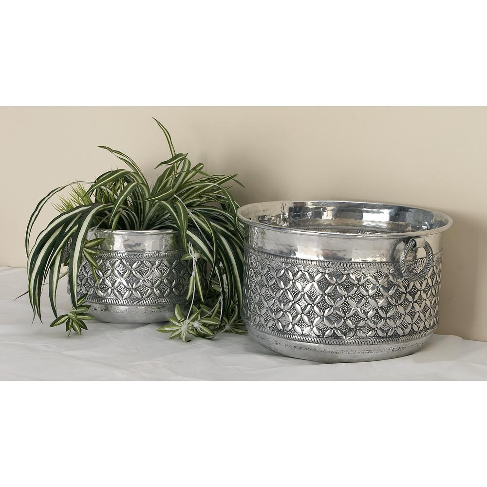 Silver Aluminum Round Planters with Iron Ring Handles (Set of 2)