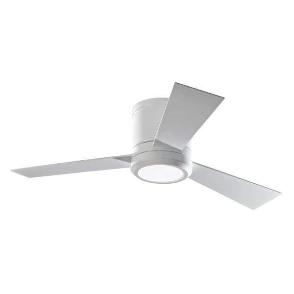 Clarity II 42 in. Integrated LED Matte White Flush Mount Ceiling Fan with White Blades and Remote Control