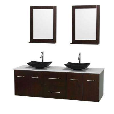 Amazing Double Vanity In Espresso With Solid Surface Vanity Top In White