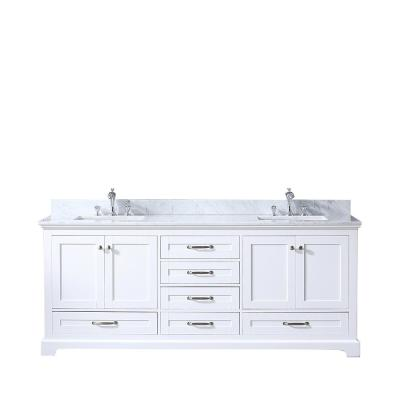 Dukes 80 in. Double Vanity White, White Carrera Marble Top, White Square Sinks and no Mirror