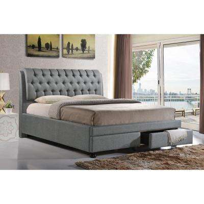 Ainge Transitional Gray Fabric Upholstered Queen Size Bed