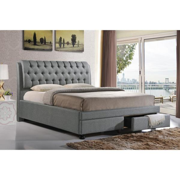 7c12d2bc95 Baxton Studio Ainge Transitional Gray Fabric Upholstered King Size Bed 28862 -6088-HD - The Home Depot