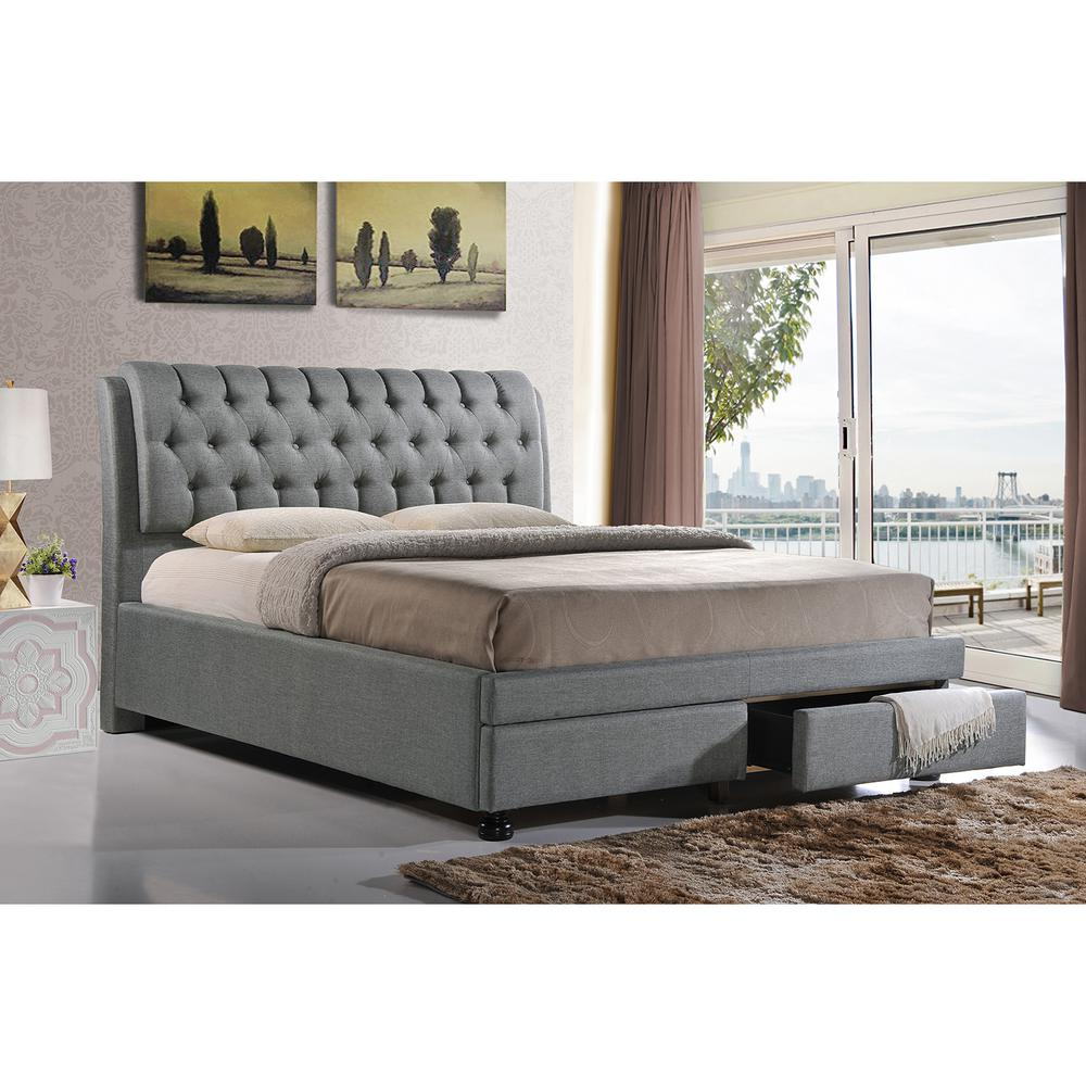 Ainge Transitional Gray Fabric Upholstered King Size Bed