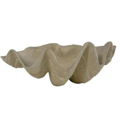 22.5 in. L x 15 in. W Cast Stone  Aged Limestone Clam Shell Bowl