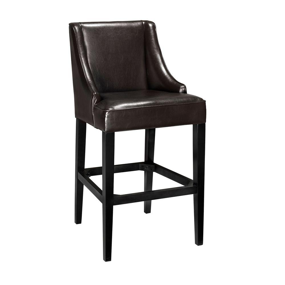Brown Cushioned Bar Stool With Back