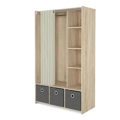 Lola Oak Structure/Natural Fabric/Grey Textile Armoire with 3-Bins and Curtain 71.02 in. H x 41.34 in. W x 19.00 in. D