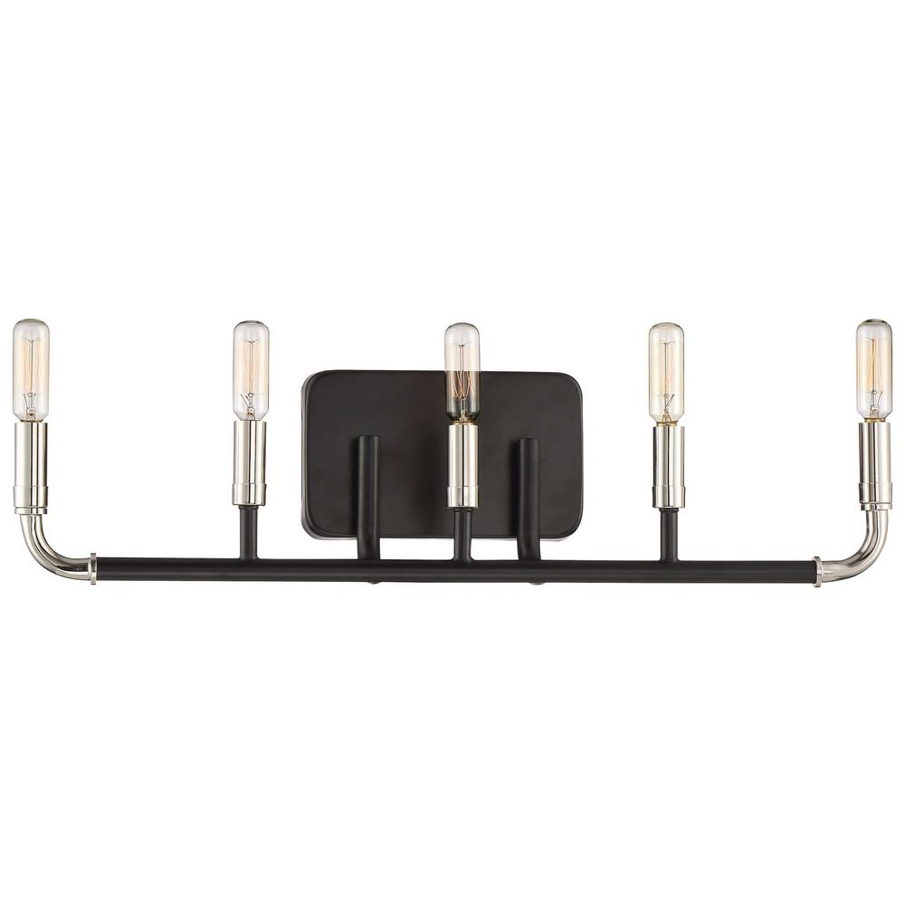 Liege 5-Light Matte Black with Polished Nickel Highlights Bath Light