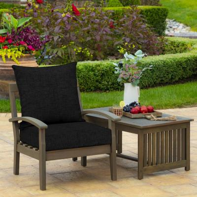 24 in. x 22.5 in. Black Leala Texture 2-Piece Deep Seating Outdoor Lounge Chair Cushion