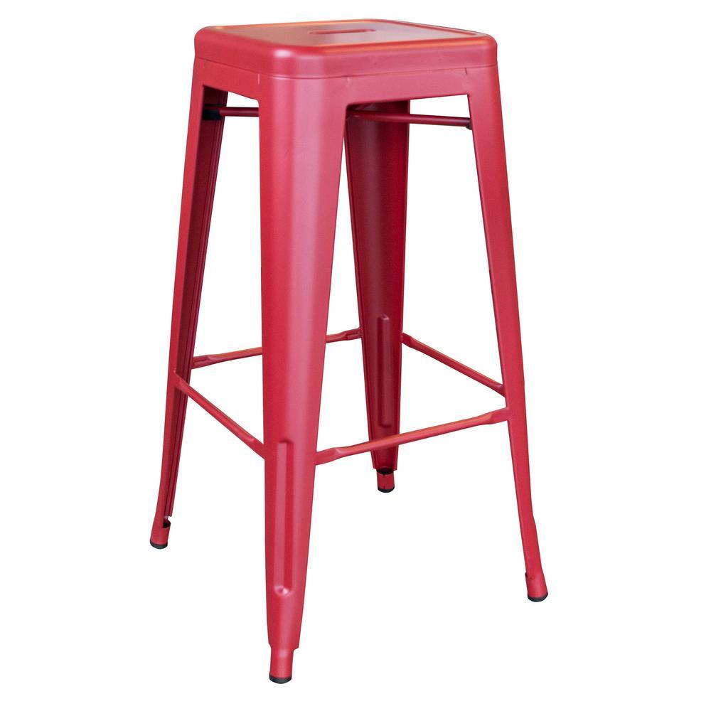 Loft Series 30 in. Indoor/Outdoor Stackable Anti-Rust Coated Metal Bar Stool in Red