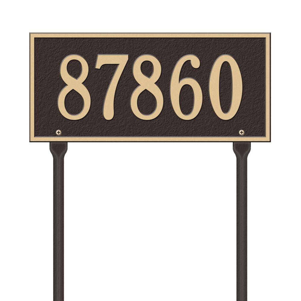 Rectangular Hartford Standard Lawn 1-Line Address Plaque - Bronze/Gold