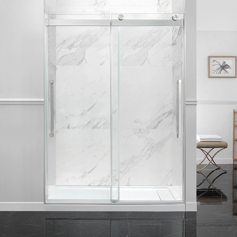Ove Decors Montebello 60 In X 78 75 In Frameless Sliding Shower Door In Satin Nickel With Handle 15sgp Monb60 Sa The Home Depot