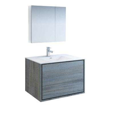 Catania 36 in. Modern Wall Hung Vanity in Ocean Gray with Vanity Top in White with White Basin and Medicine Cabinet