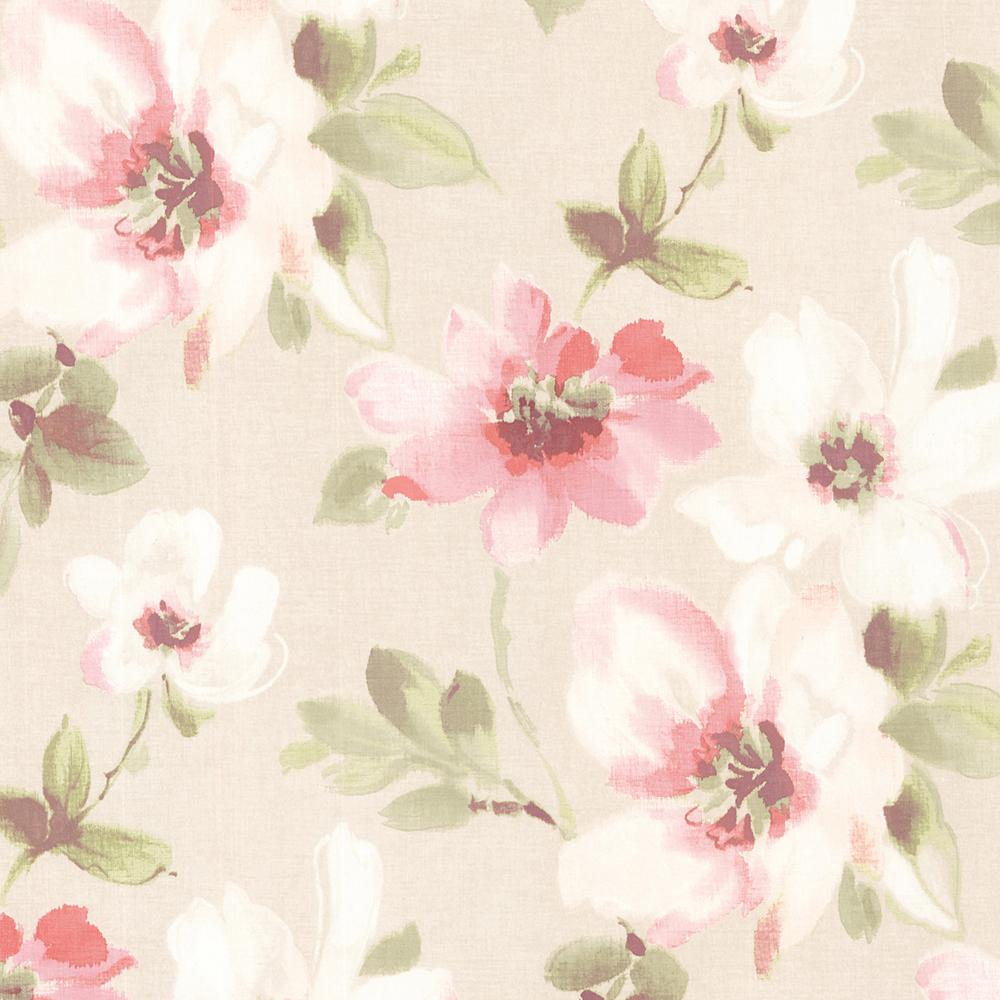 Brewster 56 4 Sq Ft Lynette Rose Watercolour Floral Wallpaper