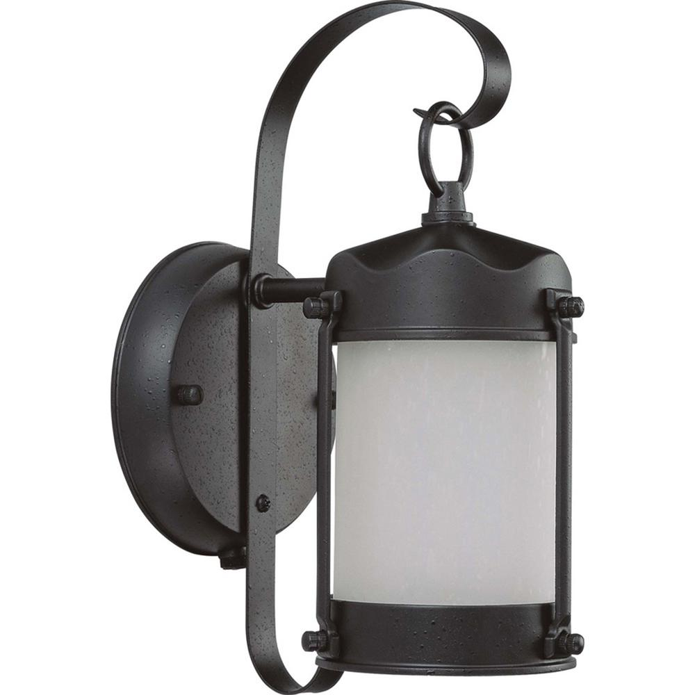 Glomar 1-Light Outdoor Textured Black Fluorescent Wall