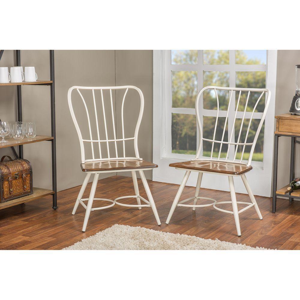 Elfrida White Metal Dining Chairs (Set of 2)