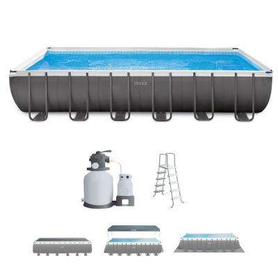 Intex 24 ft. x 12 ft. x 52 in. Rectangular Ultra XTR Frame Swimming Pool with Sand Filter