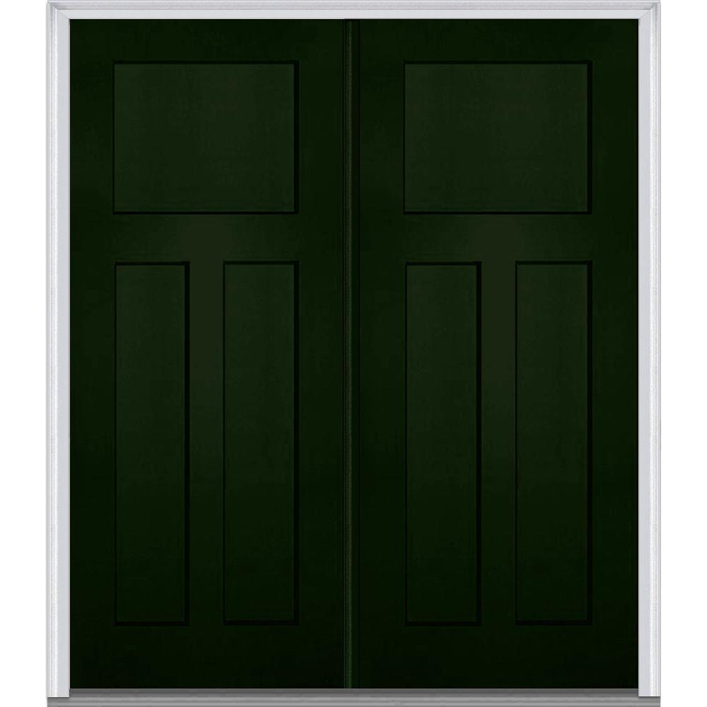 painted double front door. 64 In. X 80 Right-Hand Inswing Craftsman 3-Panel Shaker Painted Double Front Door
