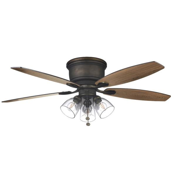 Stoneridge 52 in. Bronze Hugger LED Ceiling Fan with Light Kit