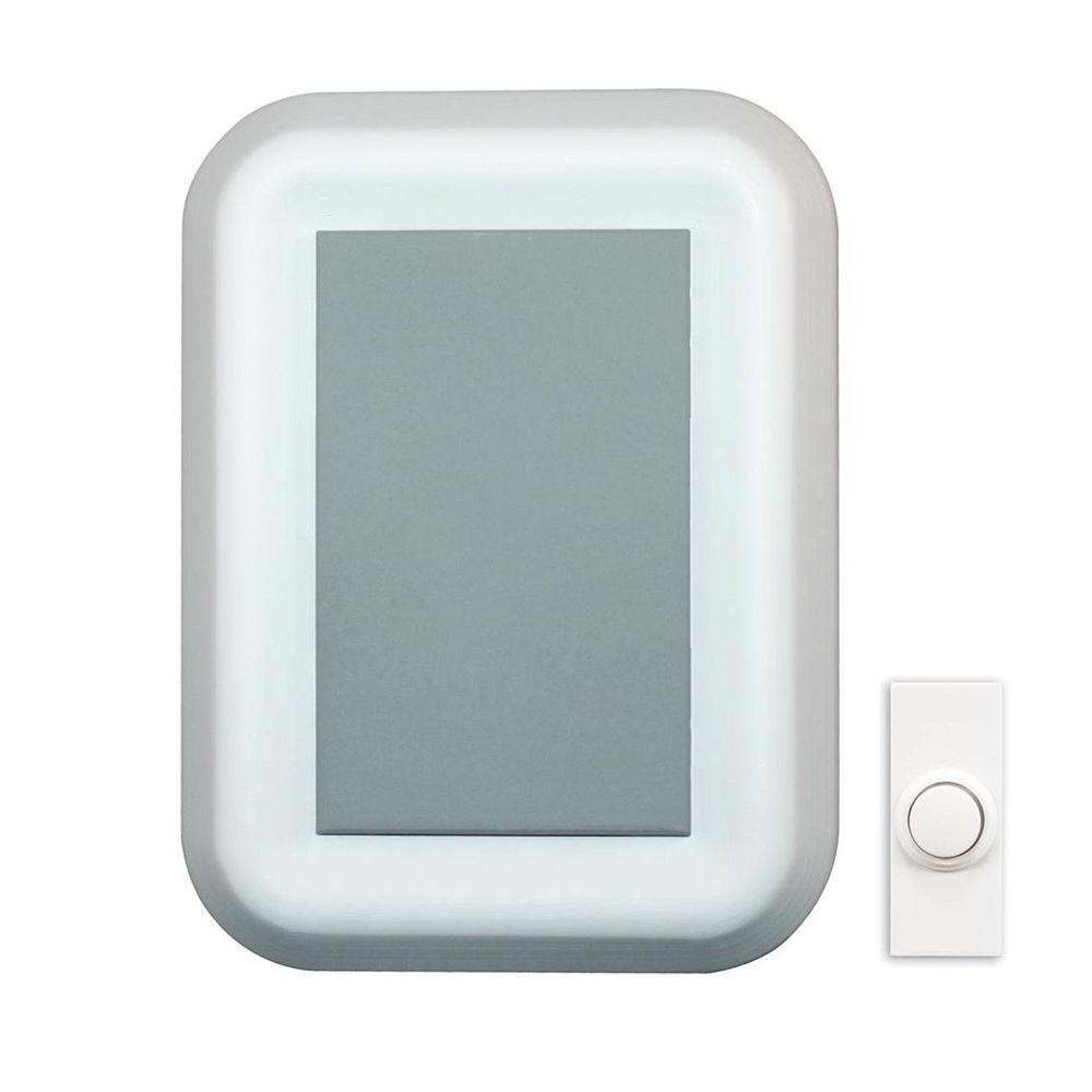 Wireless Battery Operated Door Chime, White with Gray Insert